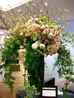 Floral-Centerpiece-Fern-Cherry Blossoms www.tablescapesbydesign.com https://www.facebook.com/pages/Tablescapes-By-Design/129811416695