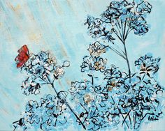 Blue Azaleas And Red Butterfly 201668 Painting by Alyse Radenovic