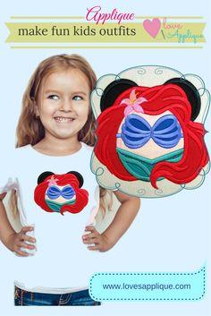 Little Mermaid Applique, Little Mermaid Embroidery Design. Little Mermaid Outfits. Little Mermaid party Ideas. Ariel Applique. www.lovesapplique.com