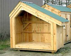 Post and beam firewood storage shed