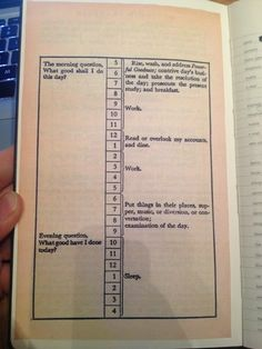 This is the first page of my planner - it's how Benjamin Franklin mapped his day.