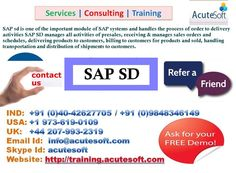 SAP SD Online Training by Real time Experts at Acutesoft. Get online SAP SD job oriented training at your convenience.