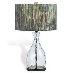 Forest Eco Coastal Beach Recycled Glass Hand Printed Shade Table Lamp
