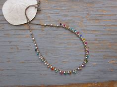 Rainbow lace crocheted necklace on gold  boho by Sydneyjos on Etsy