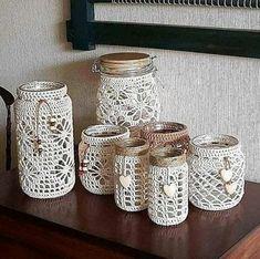 Crochet Chart, Crochet Motif, Crochet Doilies, Crochet Patterns, Crochet Mug Cozy, Crochet Home, Crochet Gifts, Mason Jar Crafts, Mason Jar Diy