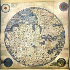 1450 Map of the World by Venetian monk Fra Mauro. The map depicts Asia, Africa and Europe