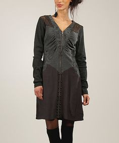 Another great find on #zulily! Choco Zip-Up Shift Dress #zulilyfinds