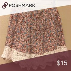 Socialite pink floral skirt Pink floral skirt with a lace trim at the bottom (all prices are negotiable!) socialite Skirts Circle & Skater