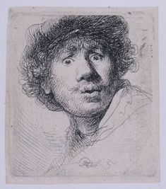 Rembrandt: Self-Portrait with a Cap, staring openmouthed (1630). Etching and burin.
