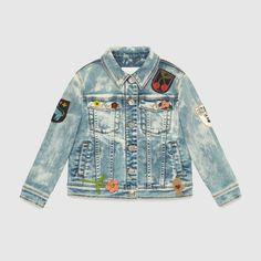 Gucci Children - Children's denim jacket with patches