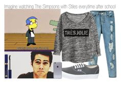 """""""Imagine watching The Simpsons with Stiles everytime after school"""" by xdr-bieberx ❤ liked on Polyvore"""