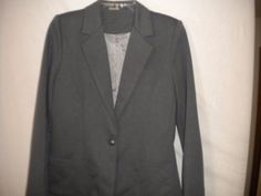 JouJou Size Medium Gray Lined Button Front Style #101-745ME Women Career Blazer #Joujou #JeanJacket #Veresatile