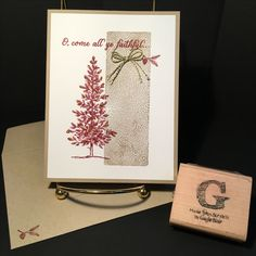 Christmas Stamp-a-Stack on 20Nov2016: Stamp sets LOVELY AS A TREE from the 2016-2017 Inspiration catalog and ALL YE FAITHFUL (retired). Card stock is Crumb Cake and Whisper White. Ink colors Crumb Cake and Cherry Cobbler. Baker's Twine Trio pack. Dazzling Details Gold Glitz. Technique Clear Blocks as Backgrounds. All supplies & images by Stampin'Up!