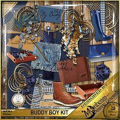 Digital Scrapbooking kit Masculine Papers, embellishments -BUDDY BOY