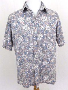 Kai Nani Hawaiian Shirt XL Floral Hibiscus Reverse Print Vintage Aloha USA Camp #KaiNani #Hawaiian