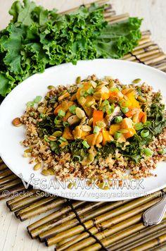 Butternut Squash, Kale, & Portobellos Over Quinoa with Southwestern Tahini Sauce
