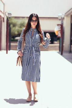Navy White Pin Striped dress