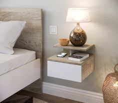 Hanging bedside table with white LANASH drawer and imitation oak Bedroom Furniture Design, Home Decor Furniture, Diy Home Decor, Home Bedroom, Bedroom Decor, Hotel Room Design, Bedroom Wall Colors, Bedroom Night Stands, Space Saving Furniture