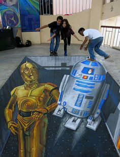 (anamorphic) Star Wars Piece by May the be with you! Chalk Artist, 3d Chalk Art, Art 3d, Best Street Art, Amazing Street Art, Chalk Drawings, 3d Drawings, 3d Street Painting, 3d Painting