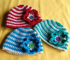 Check out this item in my Etsy shop https://www.etsy.com/listing/289261317/baby-beanies-red-blue-green-with-a