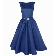 Blue Vintage Audrey Hepburn Womens Swing Dress