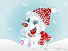 Vector Illustration of a cute Cartoon Polar Bear wearing Winter Cap and Muffler.