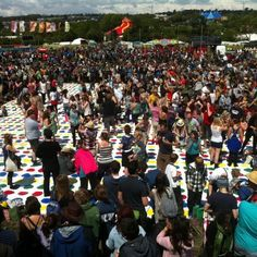 World's largest game of Twister at Glastonbury