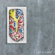 Red/yellow mask on white background Original African painting on canvas African Paintings, The Originals, Canvas, Yellow, Red, Inspiration, African, Artist, Tela