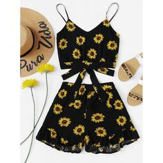 Shop Sunflower Print Cami With Ruffle Hem Shorts online. SHEIN offers Sunflower Print Cami With Ruffle Hem Shorts & more to fit your fashionable needs. Girls Fashion Clothes, Teen Fashion Outfits, Cute Fashion, Clothes For Girls, Fashion Styles, Teen Clothing, Clothing Sites, Fashion Black, Women's Clothes