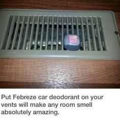 Dorm Room Hacks and Tips - Use Febreze Car Clips and add to Air Vents to Help Freshen the Room. More College Tips on Frugal Coupon Living.