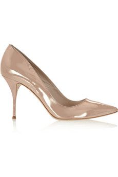 Sophia Webster Lola mirrored-leather pumps  Editors' Notes      EXCLUSIVE TO NET-A-PORTER.COM. Heel measures approximately 90mm/ 3.5 inches. Rose-gold is fashion's favorite metallic shade right now. Sophia Webster's mirrored-leather pumps are crafted with a cushioned inner sole for comfort.