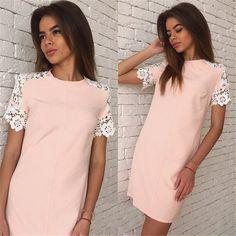 2016 Mulheres Verão Moda Rendas Vestidos de manga O Pescoço Casual Vestido de Festa Plus Size White & Pink & Bule 3 Cor