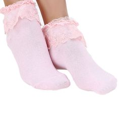 Princess Girl Cute Sweet Ladies Vintage Lace Ruffle Frilly Ankle Socks