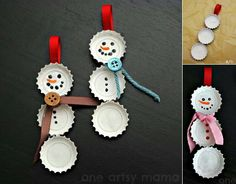 Bottle top snowmen