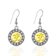 OM Yoga Circle Charm Earrings French Hook Clear Crystal Rhinestones * Click image to review more details. Note:It is Affiliate Link to Amazon.