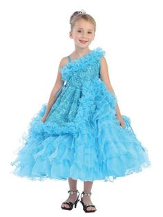 Take a look at this Turquoise Floral Ruffle Asymmetric Dress - Toddler & Girls today! Toddler Girl Dresses, Girls Dresses, Flower Girl Dresses, Toddler Girls, Kids Party Wear Dresses, Pageant Dresses, Organza Dress, Gown Dress, Fancy Gowns
