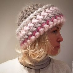 Купить Шапка Роза вязаная из кид-мохера, шапка вязаная, женская, тёплая - шапка