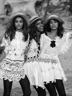 """Taken from """"Light Brigade"""". Leila Nda, Aya Jones, Imaan Hammam, Malaika Firth, Tami Williams and Kai Newman photographed by Peter Lindbergh and styled by Grace Coddington for Vogue, March 2015."""