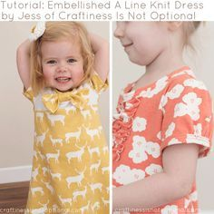 Tutorial: Easy A-Line Knit Dress and Tips for Sewing With Knits with Craftiness . - - Tutorial: Easy A-Line Knit Dress and Tips for Sewing With Knits with Craftiness Is Not Optional! Sewing To Sell, Sewing For Kids, Baby Sewing, Sew Baby, Easy A, Sewing Basics, Sewing Hacks, Sewing Tutorials, Dress Tutorials