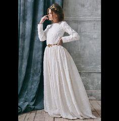 Romantic Wedding Dress / wedding dress boho – a unique product by VICTORIASPIRINA via en.DaWanda.com