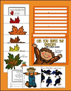 """Fall Activities for Preschool and Kindergarten - Leaf Colour Game for Circle Time, """"Can You Guess the Season?"""" book, Scarecrow Magnet Board Song"""