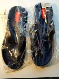 6915a6706b933f (eBay link) Okabashi Women s Maui Thong Flip Flop Navy Size Medium BRAND NEW