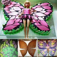 Wunderbare DIY Easy Marshmallow Fondant – Barbie-Schmetterlingskuchen Tolle Ide… – Well come To My Web Site come Here Brom Marshmallow Fondant, Butterfly Cakes, Butterfly Birthday, Diy Butterfly, Butterflies, Rainbow Butterfly, Bolo Barbie, Barbie Doll, Princess Cupcakes