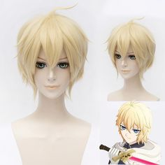 New!! Seraph Of The End Mikaela Hyakuya Short Blonde Anime Cosplay Wig Owari no Seraph Hyakuya Mikaela Synthetic Hair Cheap Wigs