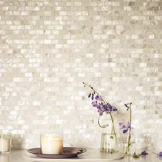 Visit Fired Earth in Göteborg White Rectangle - Mother of Pearl Mosaics - Wall & Floor Tiles | Fired Earth