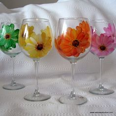 Unique Painted Wine Glasses | Reserved for Deanna 4 Custom Painted Wine Glasses Orchids