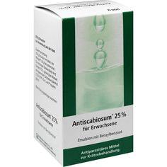 ANTISCABIOSUM 25 prozent Emulsion:   Packungsinhalt: 200 g Emulsion PZN: 07286755 Hersteller: Strathmann GmbH & Co.KG Preis: 12,64 EUR…