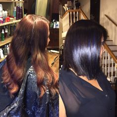 #beforeandafter #bluehair #brunette #bayalage