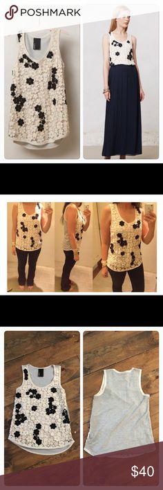 Shadowbloom tank Shadowbloom tank by Dolan. Front is crochet, back is soft stretchy jersey Knit. Euc. Anthropologie Tops Tank Tops
