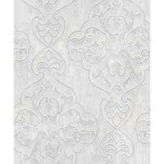 Icy and bright, this platinum wallpaper has a luxurious lavender sheen. With a textured surface, this damask wallcovering resembles fine velvet. Elena is an unpasted, heavyweight vinyl wallpaper. Geometric Wallpaper Murals, Paintable Wallpaper, Brick Wallpaper Roll, Silver Wallpaper, Embossed Wallpaper, Damask Wallpaper, Wallpaper Panels, Wallpaper Samples, Vinyl Wallpaper